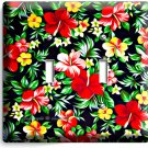 RED HAWAIIAN HIBISCUS FLOWERS PRINT PATTERN DOUBLE LIGHT SWITCH WALL PLATE DECOR