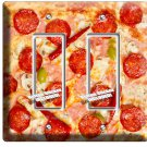 PEPPERONI PIZZA PIE DOUBLE GFI LIGHT SWITCH WALL PLATE DINING ROOM KITCHEN DECOR