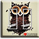 I LOVE HEART COFFEE BEANS OWL DOUBLE GFCI LIGHT SWITCH PLATE COVER HOUSE DECOR