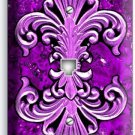FLEUR DE LIS PURPLE MARBLE PHONE TELEPHONE WALL PLATE WALL PLATE COVER ART DECOR