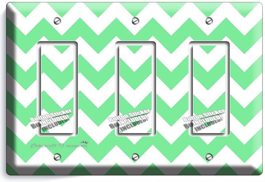 CHEVRON LITE GREEN STRIPES PASTEL TRIPLE GFI LIGHT SWITCH WALL PLATE COVER DECOR