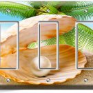 SEE SHELL PEARL PALM BEACH TRIPLE GFCI LIGHT SWITCH WALL PLATE COVER HOME DECOR