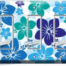 BLUE HAWAIIAN HIBISCUS FLOWERS TRIPLE GFI LIGHT SWITCH PLATE COVER BEDROOM DECOR