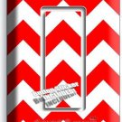 RED CHEVRON ZIG ZAG PATTERN SINGLE GFI LIGHT SWITCH WALL PLATE COVER HOME DECOR