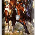 WILD AMERICAN HORSES RUNNING IN RIVER PHONE JACK TELEPHONE WALL PLATE ART COVER