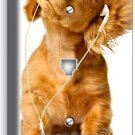 CUTE PUPPY WITH HEADPHONES MUSIC DOG PHONE TELEPHONE WALL PLATE COVER ROOM DECOR