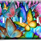 COLORFUL BUTTERFLIES TRIPLE LIGHT SWITCH WALL PLATE BABY ROOM NURSERY ART DECOR
