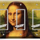 MONA LISA LEONARDO DA VINCI PAINTING TRIPLE GFI LIGHTSWITCH WALL PLATE COVER ART