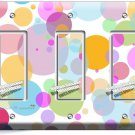 ABSTRACT PASTEL POLKA DOTS TRIPLE GFI LIGHT SWITCH WALL PLATE COVER BABY NURSERY