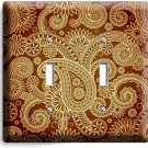 DAMASK PAISLEY PATTERN DOUBLE LIGHT SWITCH WALL PLATE COVER BEDROOM LIVING ROOM