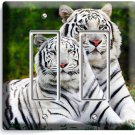 WILD CUTE WHITE BENGAL TIGERS DOUBLE GFI LIGHT SWITCH WALL PLATE ROOM HOME DECOR