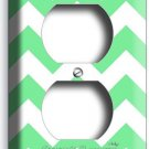 CHEVRON LITE GREEN STRIPES PASTEL DUPLEX OUTLET WALL PLATE COVER ROOM HOME DECOR