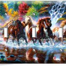 WILD RUNNING HORSES FOREST WATERFALL RIVER TRIPLE LIGHT SWITCH WALL PLATE COVER