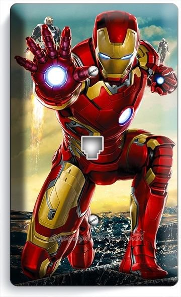 IRONMAN SUPERHERO PHONE JACK TELEPHONE WALL PLATE COVER BOYS BEDROOM IRON MAN TV