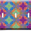 DAMASK ARABIC COLORFUL ORNAMENT TRIPLE LIGHT SWITCH WALL PLATE COVER ART DECOR