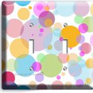 ABSTRACT PASTEL POLKA DOT DOUBLE LIGHT SWITCH WALL PLATE COVER BABY NURSERY ROOM