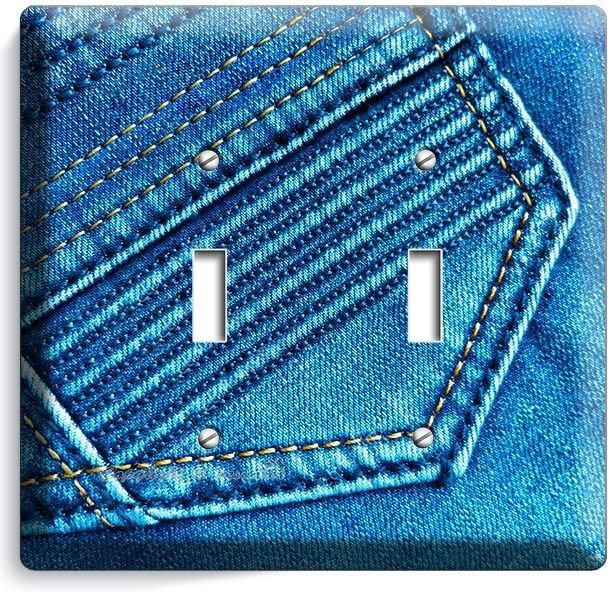DENIM BLUE WASHED JEANS POCKET STITCHES DOUBLE LIGHT SWITCH WALL PLATE ART DECOR
