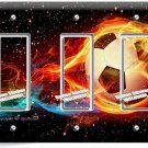 SOCCER BALL FLAME FOOTBALL TRIPLE GFCI LIGHT SWITCH WALL PLATE COVER BOYS ROOM