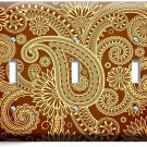 DAMASK PAISLEY PATTERN TRIPLE LIGHT SWITCH WALL PLATE COVER BEDROOM LIVING ROOM