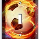 SOCCER BALL FLAME FOOTBALL SINGLE LIGHT SWITCH WALL PLATE COVER BOYS ROOM DECOR