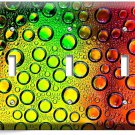 COLORFUL GLASS BUBLES WATER DROPLETS TRIPLE LIGHT SWITCH WALL PLATE COVER DECOR