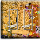 GUSTAV KLIMT TREE OF LIFE GOLD PAINTING DOUBLE GFI LIGHT SWITCH WALL PLATE COVER