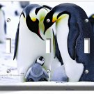 KING PENGUINS COUPLE CUTE BABY TRIPLE LIGHT SWITCH WALL PLATE COVER ROOM DECOR