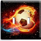 SOCCER BALL FLAME FOOTBALL DOUBLE LIGHT SWITCH WALL PLATE COVER BOYS ROOM DECOR