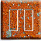RUSTIC CRACKED RUST RUSTED DOUBLE GFCI LIGHT SWITCH WALL PLATE COVER MAN CAVE