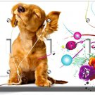 CUTE PUPPY HEADPHONES MUSIC DOG TRIPLE LIGHT SWITCH WALL PLATE COVER  ROOM DECOR
