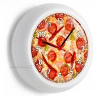 PEPPERONI ITALIAN PIZZA PIE WALL CLOCK FOR KITCHEN DINING BEDROOM TV ROOM DECOR