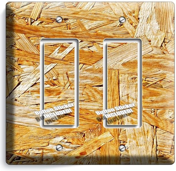 RUSTIC ROUGH PLYWOOD WOOD DESIGN DOUBLE GFI LIGHT SWITCH WALL PLATE KITCHEN ROOM