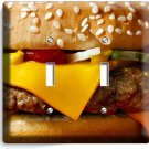 CHEESEBURGER JUICY BEEF BURGER DOUBLE LIGHT SWITCH WALLPLATE COVER KITCHEN DECOR