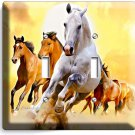 LIPIZZAN STALLION AND BROWN HORSES IN WILD DOUBLE LIGHT SWITCH WALL PLATE COVER