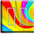 COLORFUL SWIRLY RAINBOW DOUBLE GFCI LIGHT SWITCH WALL PLATE LIVING ROOM DECOR