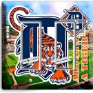 DETROIT TIGERS COMERICA STADIUM DOUBLE GFCI LIGHT SWITCH PLATE COVER BOYS ROOM