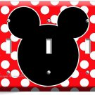 MICKEY MOUSE EARS POLKA DOTS TRIPLE LIGHT SWITCH WALL PLATE COVER BABY NURSERY