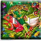 CUTE EXOTIC RAINFOREST TROPICAL TREE FROGS DOUBLE LIGHT SWITCH WALL PLATE COVER