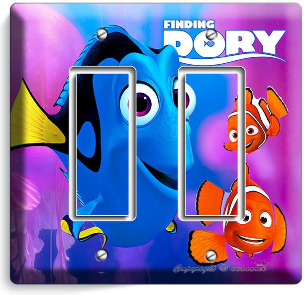 FINDING DORY PINK JELLYFISH NEMO DOUBLE GFCI LIGHT SWITCH WALL PLATE KIDS ROOM