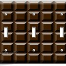 DARK CHOCOLATE BAR CUBES TRIPLE LIGHT SWITCH WALL PLATE CHEF KITCHEN ROOM DECOR