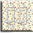 NAUTICAL ANCHORS DOUBLE GFCI LIGHT SWITCH WALL PLATE BEDROOM NURSERY ROOM DECOR