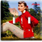 AUDREY HEPBURN SEXY RETRO ACTRESS DOUBLE LIGHT SWITCH WALL PLATE HOME ROOM DECOR