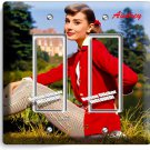 AUDREY HEPBURN RETRO ACTRESS DOUBLE GFCI LIGHT SWITCH WALL PLATE HOME ROOM DECOR