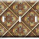 TUSCAN KITCHEN TILE PATTERN PRINT TRIPLE LIGHT SWITCH WALL PLATE COVER ART DECOR