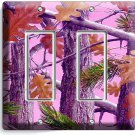 PINK OAK LEAVES MOSSY TREE CAMO CAMOUFLAGE DOUBLE GFCI LIGHT SWITCH WALL PLATES