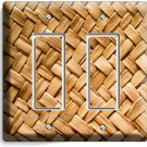 OLD WICKER WEAVE STRAW PATTERN DOUBLE GFCI LIGHT SWITCH WALL PLATE COUNTRY HOUSE