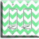 CHEVRON LITE GREEN STRIPES PASTEL DOUBLE GFI LIGHT SWITCH WALL PLATE COVER DECOR