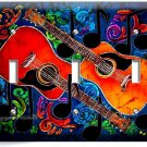 TWO ACOUSTIC GUITARS ABSTRACT MODERN MUSIC TRIPLE LIGHT SWITCH WALL PLATE COVER