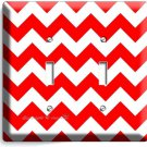 RED CHEVRON ZIG ZAG LINES DOUBLE LIGHT SWITCH WALL PLATE COVER MODERN HOME DECOR