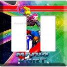 SUPER MARIO KART RACING PRINCESS PEACH double LIGHT SWITCH PLATE NINTENDO DS WII